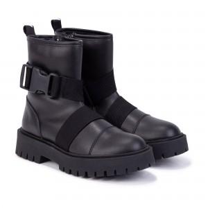 Dievčenské čižmy členkové zo sponou čierne DKNY
