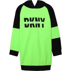 Dievčenské šaty s kapucňou neónové zelené DKNY