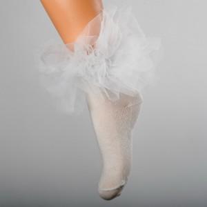 Dievčenské ponožky s volánom krémové DAGA