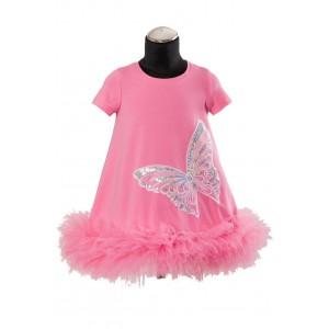 Dievčenské šaty s motýľom ružové DAGA