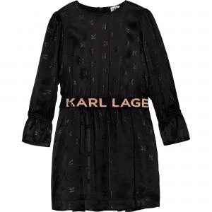 Dievčenské šaty čierne KARL LAGERFELD