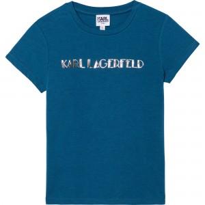 Dievčenské tričko modré KARL LAGERFELD