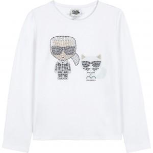 Dievčenské tričko KARL a CHOUPETTE biele KARL LAGERFELD