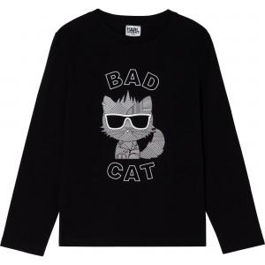 Tričko s potlačou BAD CAT čierne KARL LAGERFELD