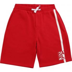 Chlapčenské šortky s logom červené KARL LAGERFELD