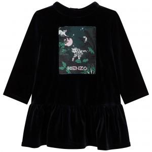 Dievčenské šaty zamatové s potlačou čierne KENZO