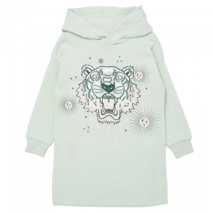 Dievčenské šaty s vyšívaným logom tigra zelené KENZO