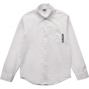 Chlapčenské košeľa bavlnená biela KARL LAGERFELD