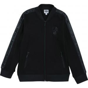 Unisex mikina na zips čierna KARL LAGERFELD