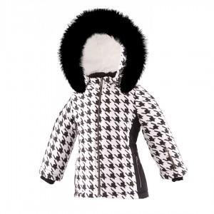 SKI zimná bunda s prírodnou kožušinou biela PEPITO/pilguni