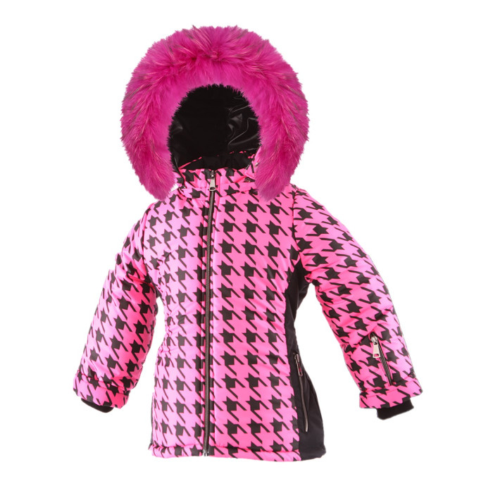 SKI zimná bunda s prírodnou kožušinou ružová PEPITO/pilguni