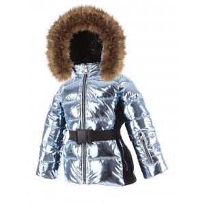 SKI zimná bunda s prírodnou kožušinou modrá METALLIC/pilguni
