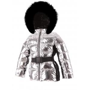 SKI zimná bunda s prírodnou kožušinou strieborná METALLIC/pilguni