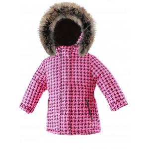 Módna zimná bunda s prírodnou kožušinou ružová PEPITO/pilguni