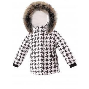 Módna zimná bunda s prírodnou kožušinou biela PEPITO/pilguni
