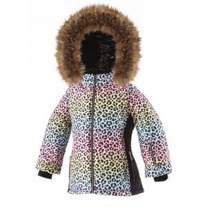 SKI zimná bunda s prírodnou kožušinou LEO MULTICOLOR/pilguni