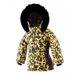 SKI zimná bunda s prírodnou kožušinou žltá LEO/pilguni