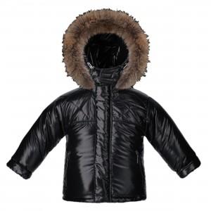 Chlapčenská zimná bunda s prírodnou kožušinou čierna SUPERLUCIDO BOY/pilguni