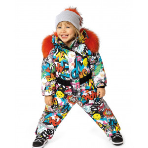Dievčenský zimný overal s prírodnou kožušinou farebný PLAYTIME/pilguni